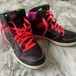 Black neon pink + neon green NIKE high top sneaker